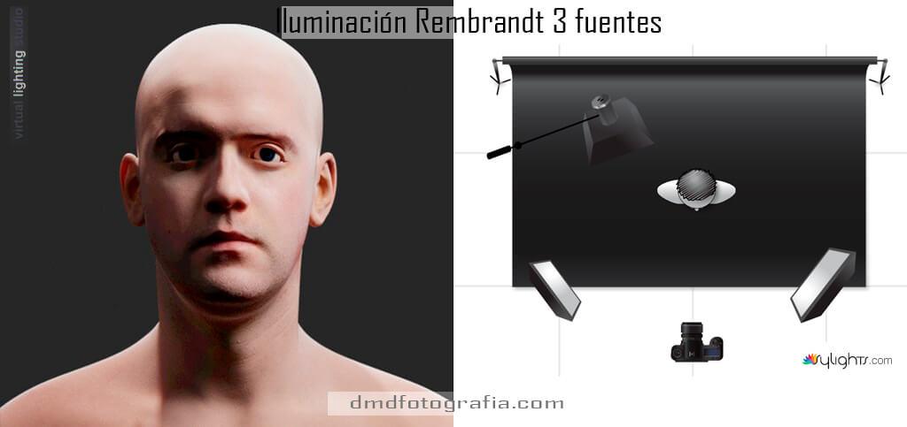 iluminacion rembrandt 3 fuentes dmdfotografia