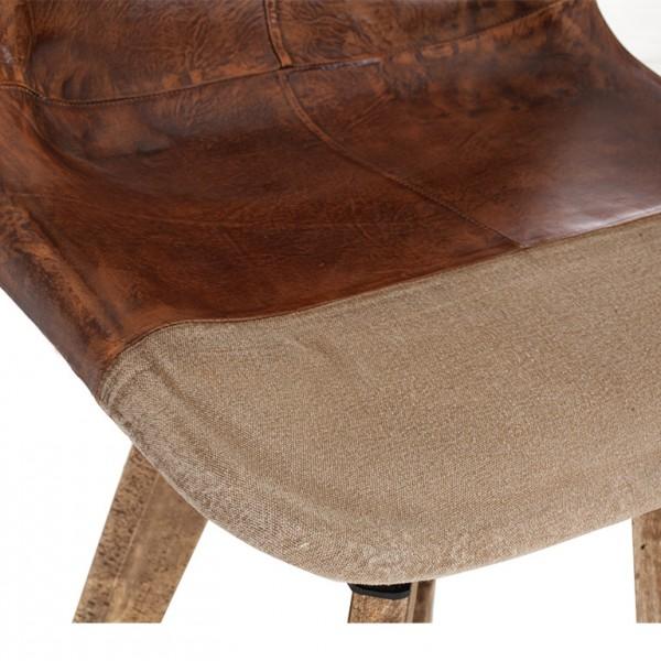 silla madera piel