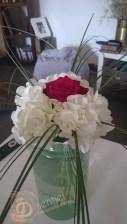 bouquet rose et hortensia