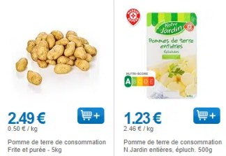 pomme de terre pas cher
