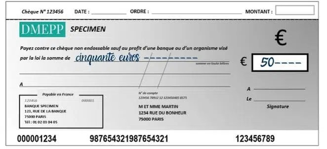 remplir un chèque montant en lettres