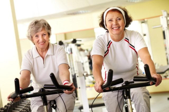 two older woman exerciseing