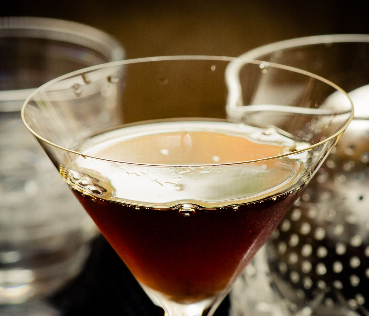 The Black Manhattan Cocktail  Cold Glass