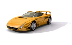 3D Model of shiny yellow sports concept car, with clipping path, isolated on white background