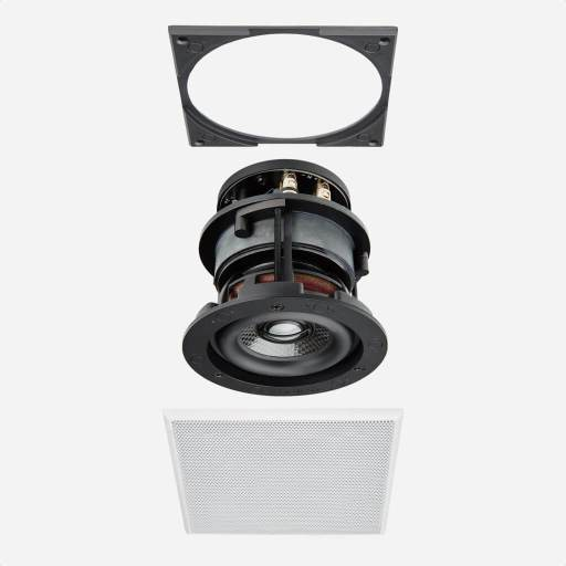 Sonance Visual Performance Discreet Opening System  Satellite Speaker with square steel Grille, in the Miami / Fort Lauderdale area. Available at dmg Martinez Group.