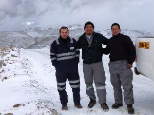 DMG Drilling empleados MINSUR Pucamarca Snow Road Andes