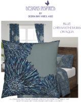 BLUE CHRYSANTHEYMUMS ON AQUA