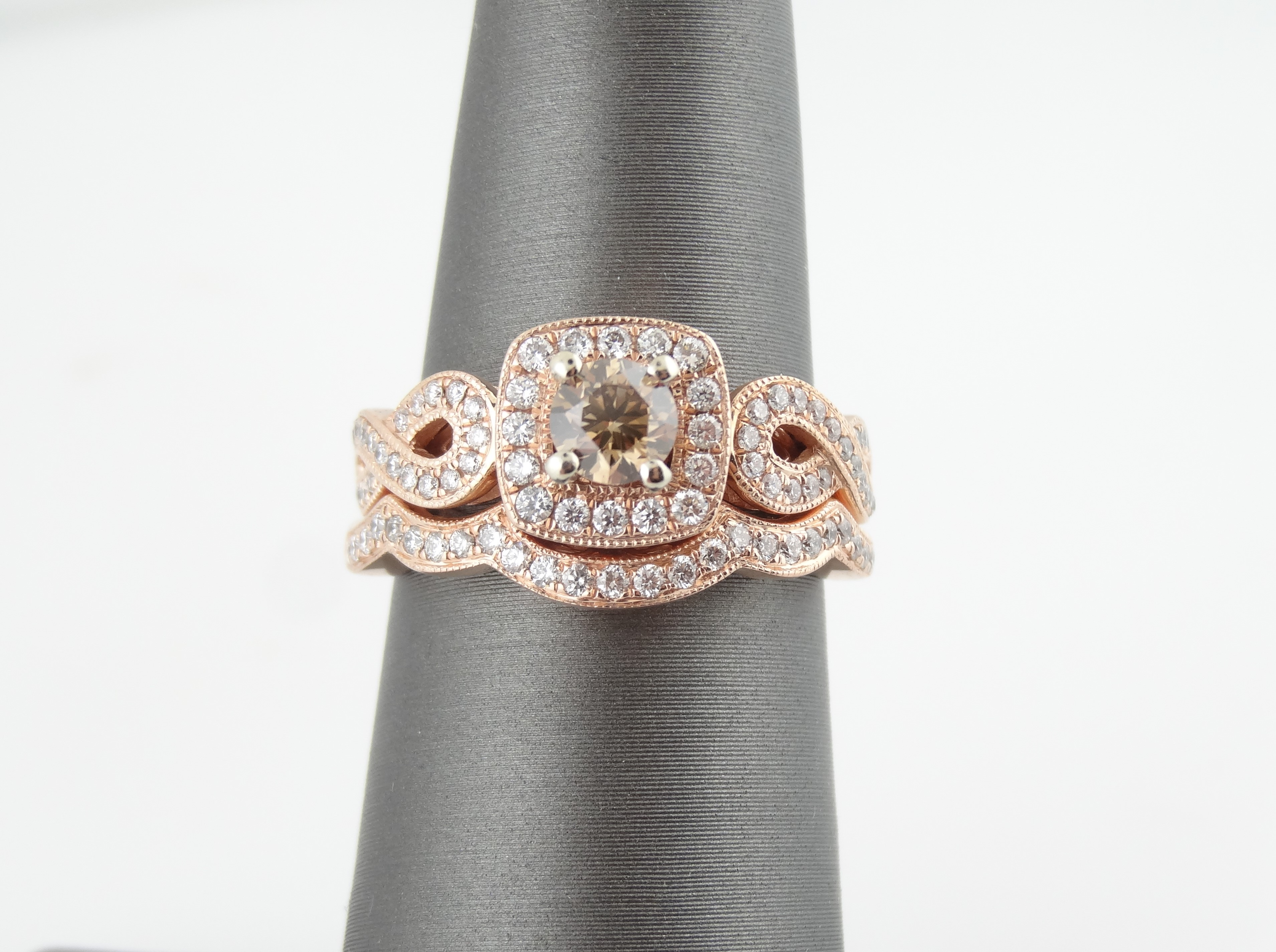 le vian rose gold halo bridal set chocolate and white diamonds