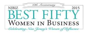 """Laura Ann Kelly, Honored in 10th Anniversary of """"NJBIZ"""" Best Fifty Women in Business, Celebrating New Jersey's Women of Influence - rectangle logo with teal and black wording"""