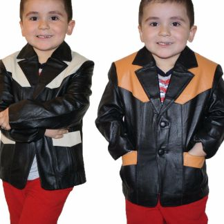 Kids Boys Genuine Leather Jacket Outerwear Buttons Blazers