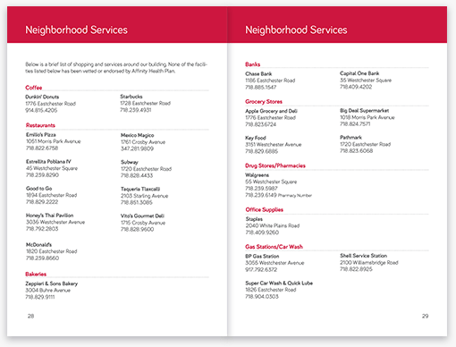 Affinity Welcome Booklet Neighborhood Services Pages