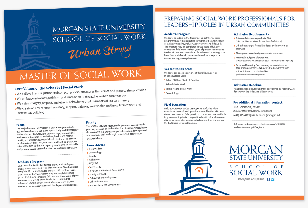 Morgan State University School of Social Work Master of Social Work Flyer