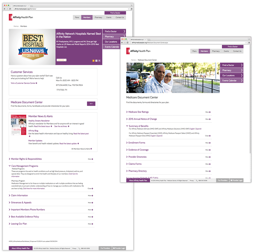 AffinityMedicarePlan.org Members and Document Center Pages