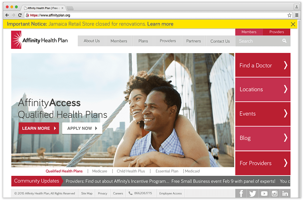 AffinityPlan.org 2016 Homepage redesign
