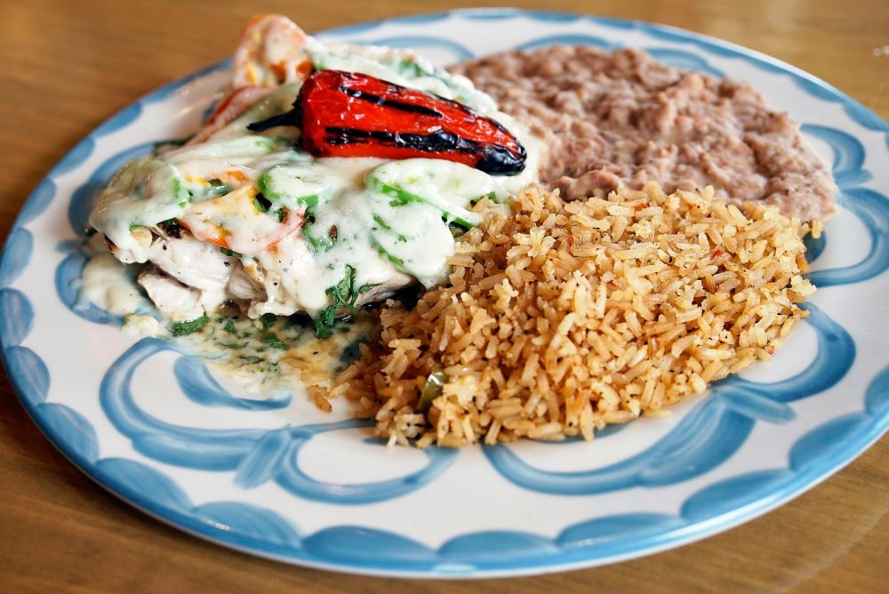One of the popular dishes at Lupe Tortilla is this cilantro jalapeño chicken.