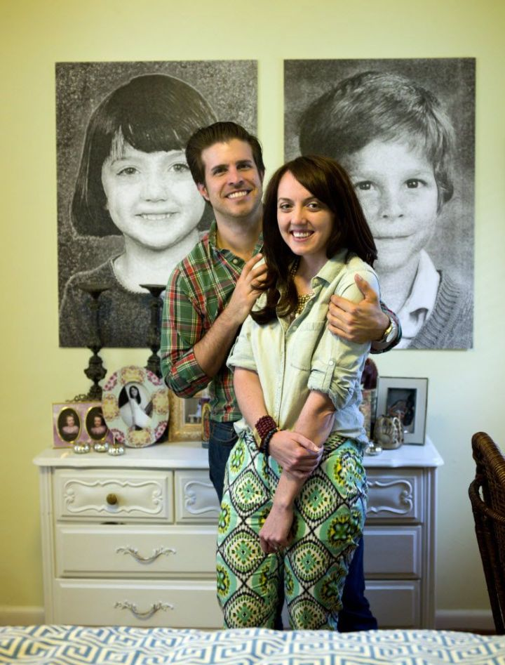 April 24, 2013 -- Dallas, TX  --  Neubauerhouse_0000gd  Markus and Lilly Neubauer with refreshed childhood portraits, that were used at their wedding, on the wall of the master bedroom in Dallas.  ( Michael Mulvey/Special Contributor) 07132013xARTSLIFE