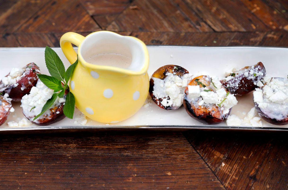 Peaches dressed with Lavender Honied Greek Yogurt and Feta