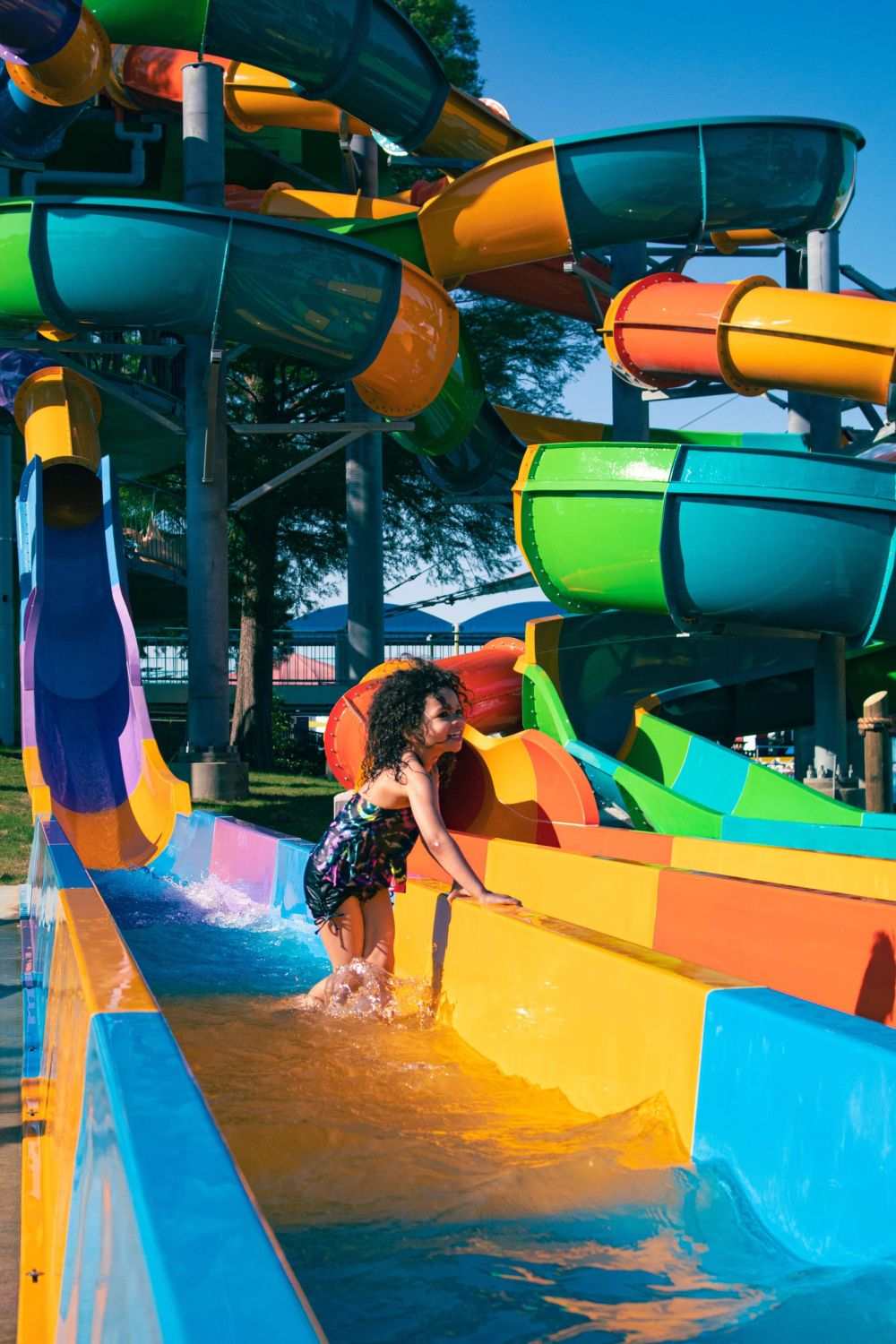 The Banzai Pipeline at Six Flags Hurricane Harbor Arlington has three slides to twist, turn and spin riders.