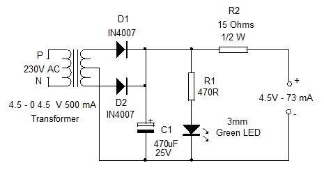Charger for 3.6V Battery. Home Utility Circuit 1