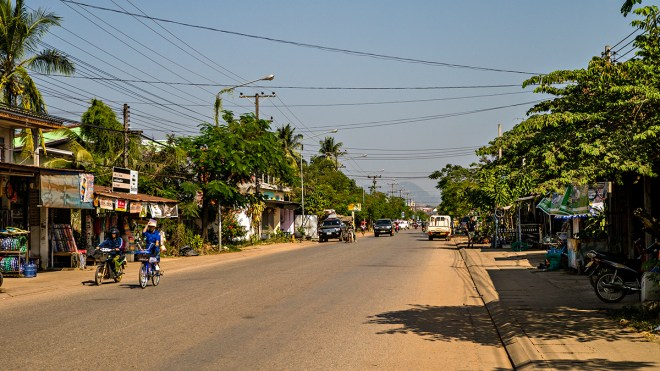 Quiet main street in Thakhek, Laos