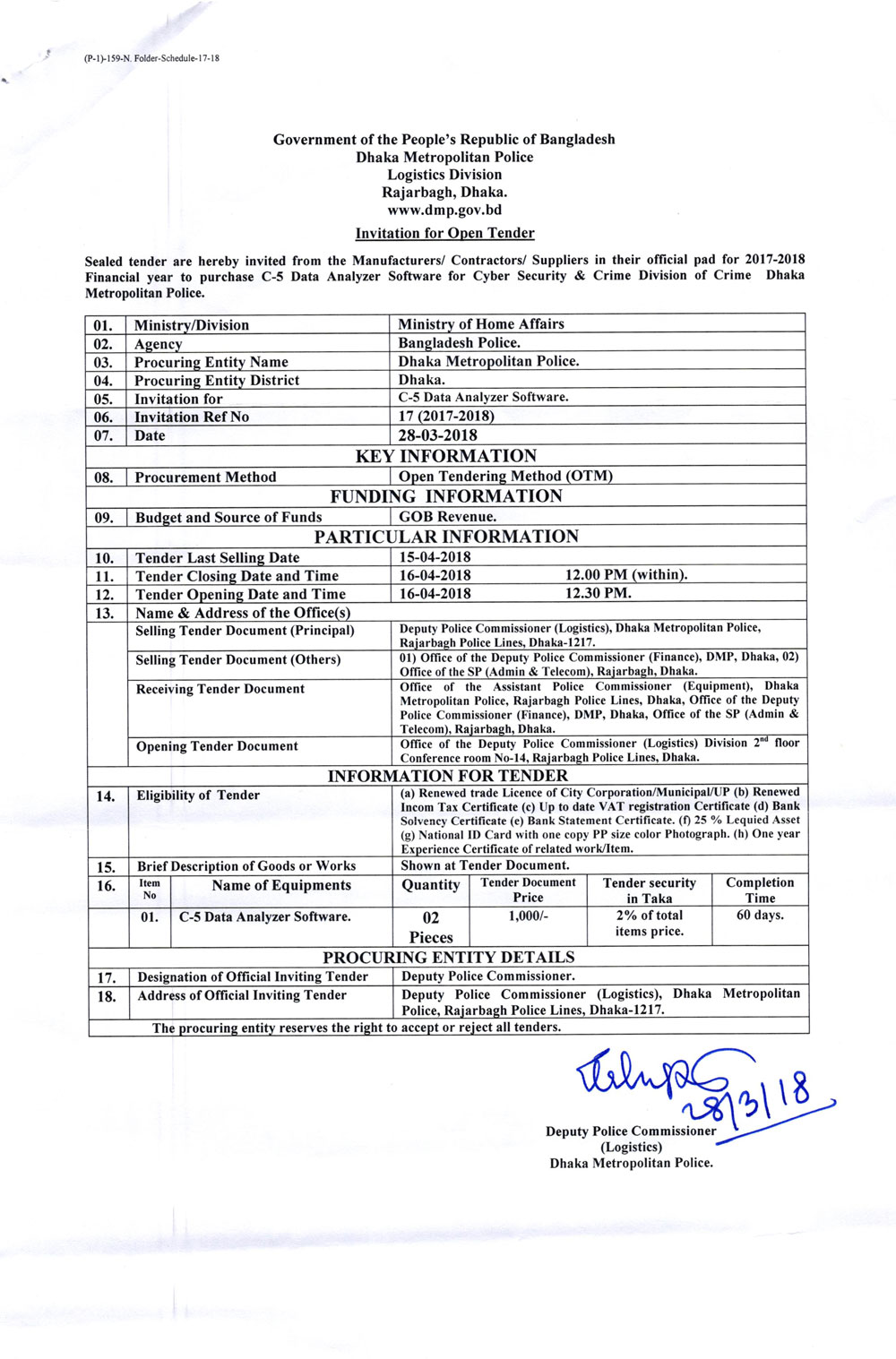 Invitation for Open Tender From Dmp Logistics Division (29