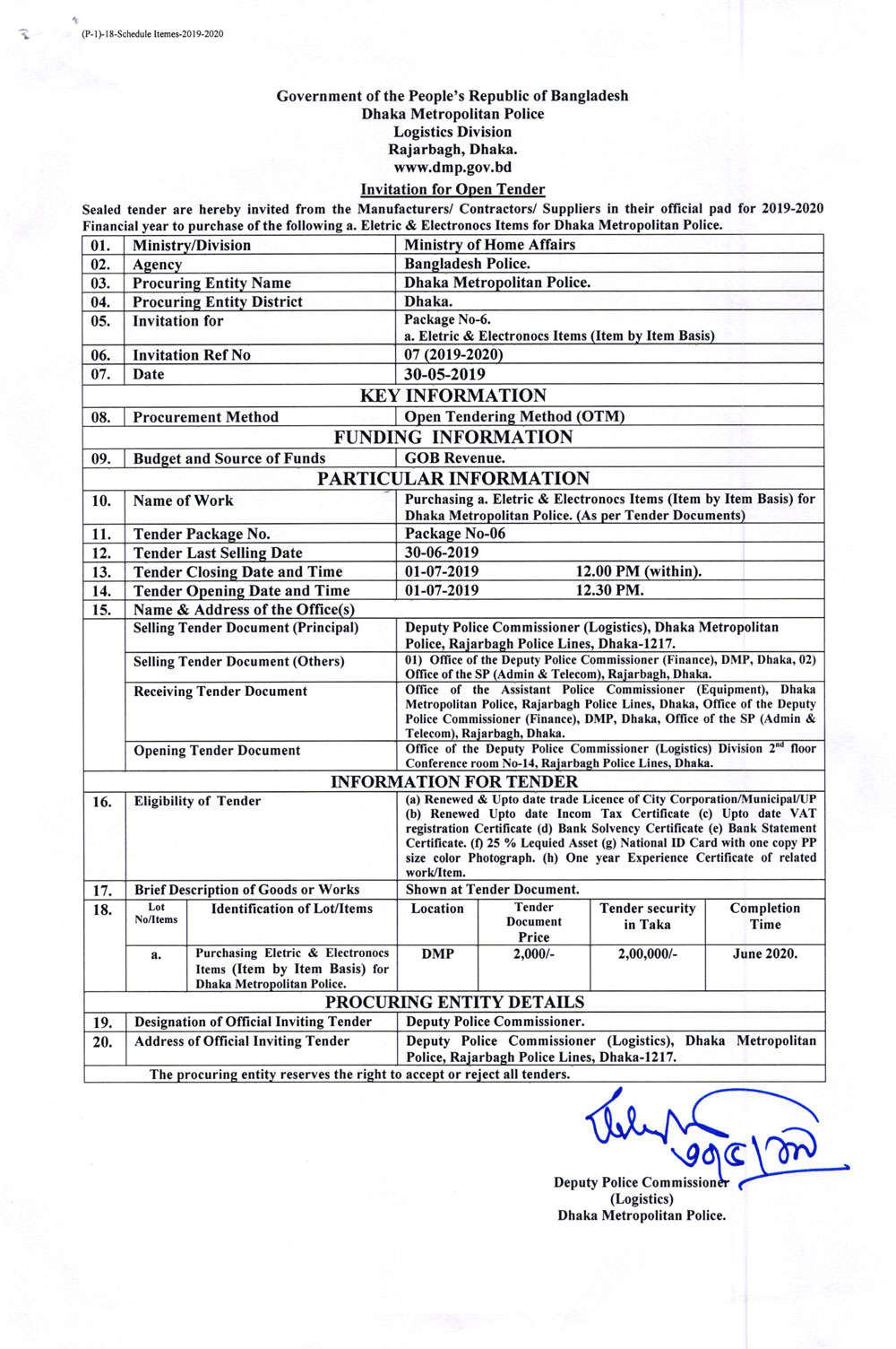 Invitation for Open Tender From Dmp Logistics Division