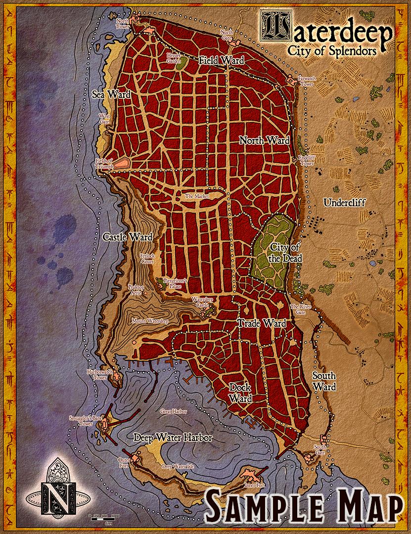 Map Of Waterdeep : waterdeep, Waterdeep, Forgotten, Realms, Stock, Dungeon, Masters, Guild, Pegasus, Digital