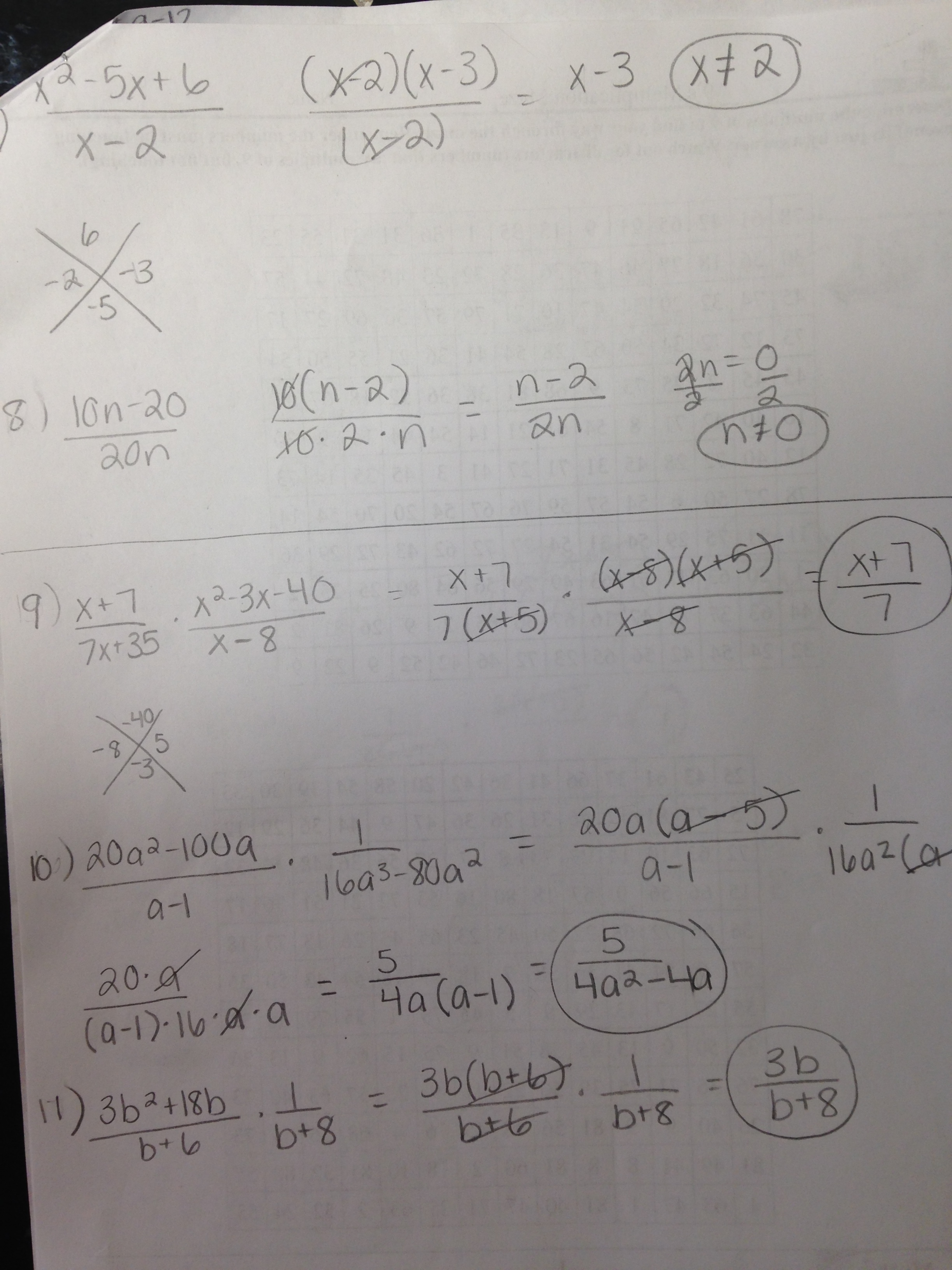 Homework Help Factoring Rational Expressions