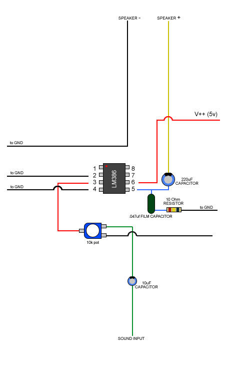 How to wire up LM386 amp for audio?