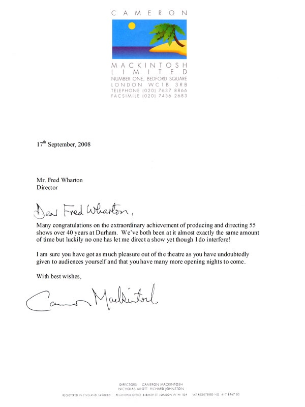 Cameron Mackintosh Letter Celebrating Fred Wharton 40 Years of Directing