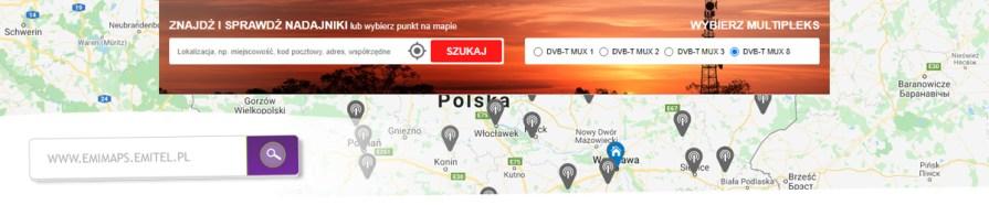 Mapa emitel nadajniki lokalizacja