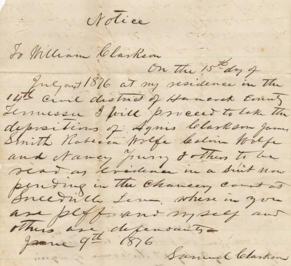 1876 Samuel signature