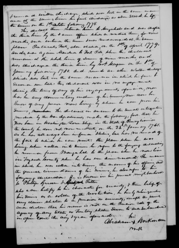 Abraham Workman Pension app 1834 Tazewell Co Va2