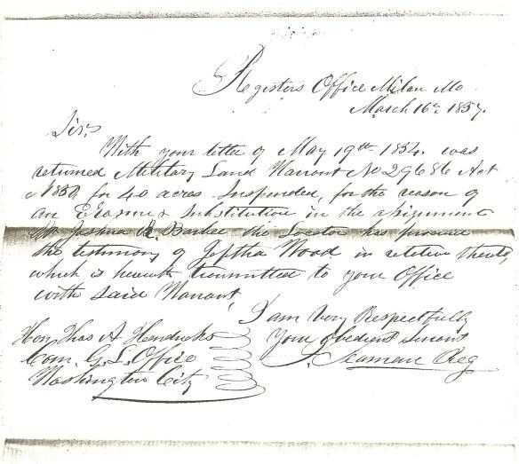 John R. Estes 40 acres erasure letter