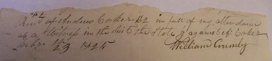 Crumley 1825 receipt signature