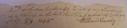 Crumley 1825 receipt signature