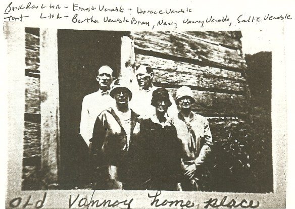 Back row left to right: Ernest Venable, Horace Venable.  Front L to R: Bertha Venable Bray, Nancy Vannoy Venable, Sallie Venable