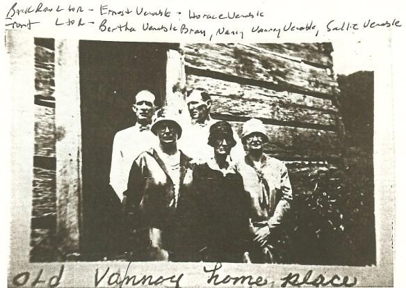 Back row left to right: Ernest Venable, Horace Venable.  Front L to R: Bertha Venable Bray, Nancy Vannoy Venable, Sallie Venable
