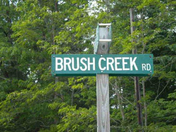 brush creek road sign
