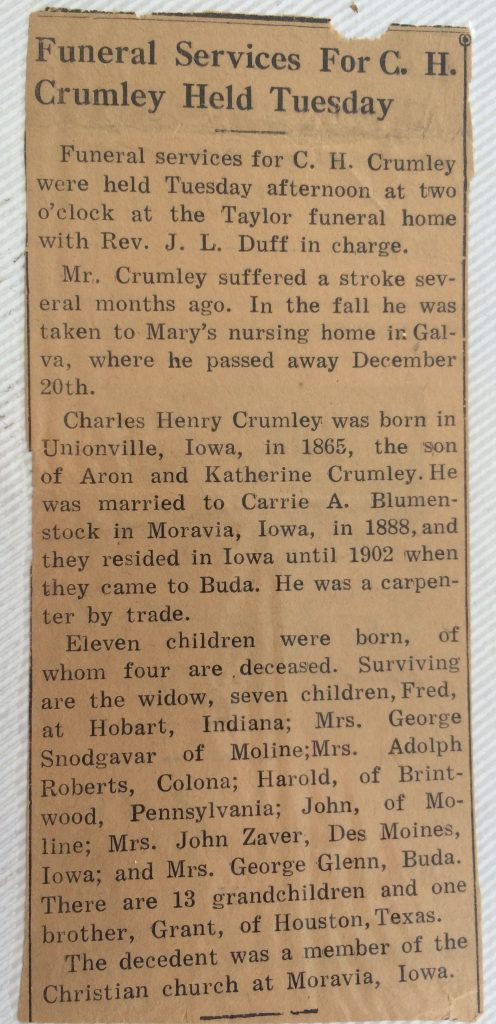 Crumley, Aaron's child obit