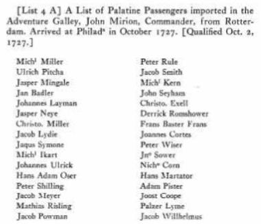 Ancestry 1727 list