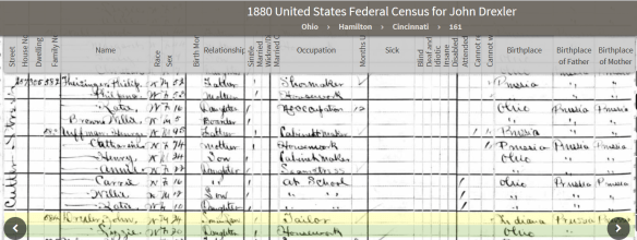 Drechsel 1880 Cincy census