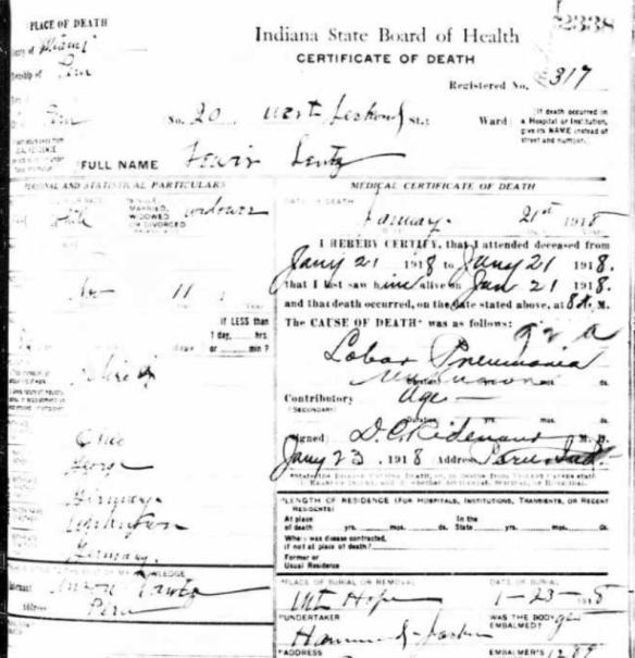 Fredericka Lewis Lentz death cert