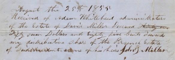 JDM 1855 estate receipt