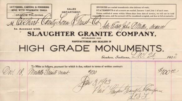 JDM headstone receipt