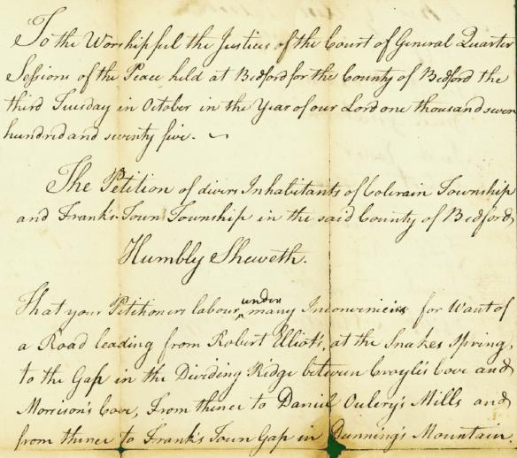 Daniel Miller 1775 Bedford petition 1