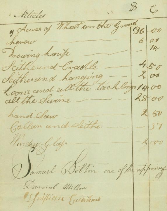 Daniel Miller 1813 appraiser