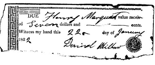 Daniel Miller 1822 signature