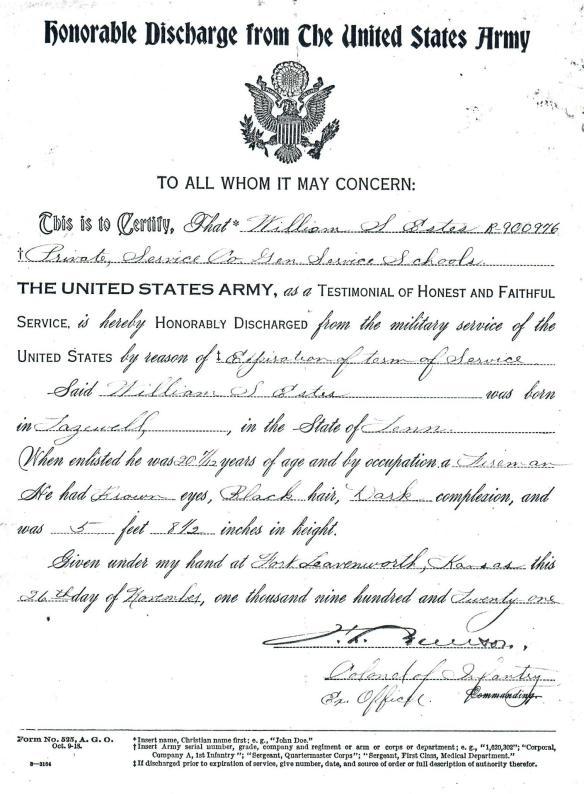 William Estes honorable discharge 1921