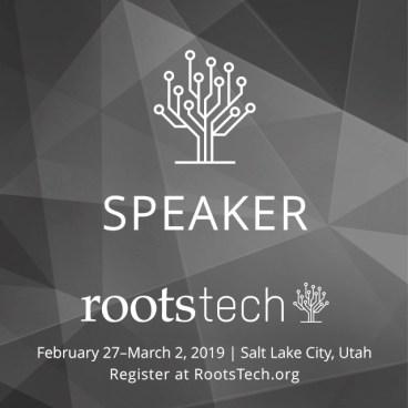 RootsTech 2019 speaker badge